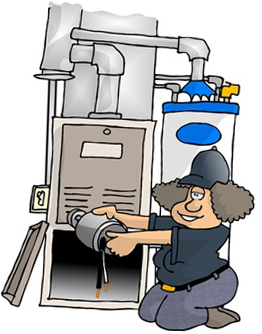 This HVAC specialist is cleaning and fine-tuning an older heating system