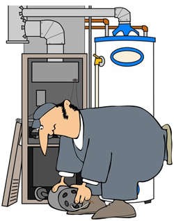 HVAC repair specialist inspecting and fixing a system